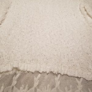 Cato Sweaters - CATO White Light Weight Crochet and Lace Sweater